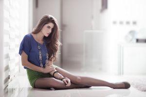 long hair pantyhose brunette natalia contreras women indoors sitting women