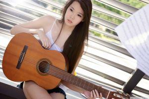 long hair sitting black eyes guitarist eyeliner lens flare asian women brunette