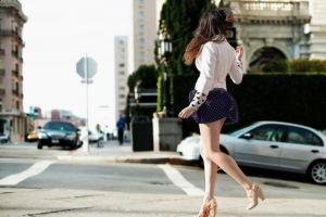 long hair urban brunette high heels women outdoors women upskirt miniskirt