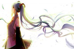 long hair vocaloid headphones anime anime girls