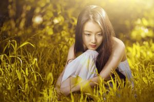 long hair women outdoors asian women white dress grass model dress sunlight dark hair