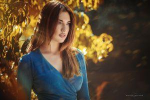 long hair women outdoors manthos tsakiridis blue eyes blue dress looking away freckles redhead women model