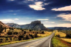 long road landscape mountains nature hdr