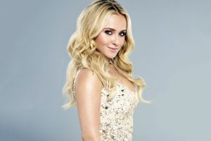 looking at viewer actress hayden panettiere celebrity women simple background blue eyes long hair blonde smiling