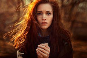 looking at viewer coats black coat georgy chernyadyev long hair redhead women blue eyes