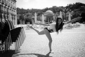 looking at viewer dancer monochrome tiptoe long hair women outdoors barefoot women exercise gymnast