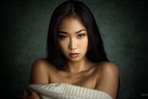 looking at viewer face bare shoulders sweater portrait brown eyes white tops women long hair model simple background anton zhilin brunette asian
