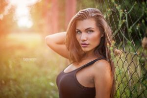 looking at viewer fence face juicy lips portrait women