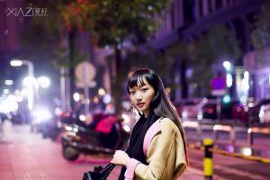 looking at viewer long hair yellow coats women scarf women outdoors brunette asian