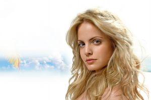 looking at viewer mena suvari blonde celebrity actress long hair blue eyes