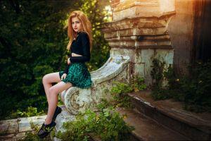 looking at viewer model hair   trees legs women outdoors blonde dress ivan gorokhov skirt sitting galina rover women