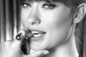 looking at viewer olivia wilde closeup face portrait rings sensual gaze photography women celebrity finger on lips teeth people