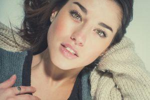 looking at viewer portrait women closeup face makeup jimagination lying down hazel eyes lipstick brunette