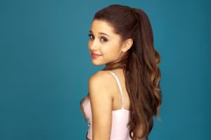 looking at viewer smiling simple background celebrity actress singer long hair looking back brunette ariana grande women brown eyes