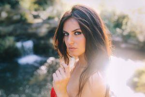 looking at viewer women aurela skandaj bare shoulders brunette portrait juicy lips face