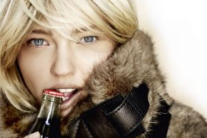 looking at viewer women eyes fur coats blue eyes biting fur blonde bottles mouths face coca-cola sasha pivovarova