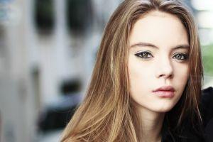 looking at viewer women model blonde hazel eyes women outdoors outdoors face long hair