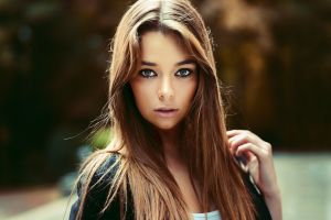 looking at viewer women outdoors portrait women maxime prokaz brunette eyeliner