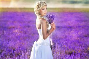 looking away bare shoulders sofia andreevna nature long hair braids white dress sunlight wedding dress field model purple flowers lavender women outdoors women