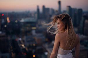 looking away white dress blonde depth of field cityscape women bare shoulders urban long hair dress women outdoors