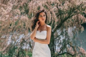 looking away white dress women portrait model aurela skandaj