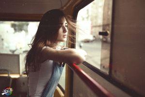 looking away women model buses