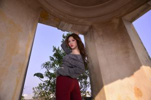 looking back brunette red lipstick bare shoulders sweater asian long hair women