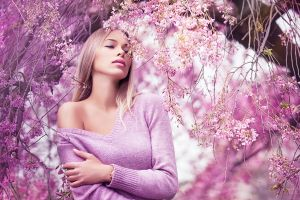 looking into the distance women outdoors pink sweater women blonde long hair bare shoulders hair in face
