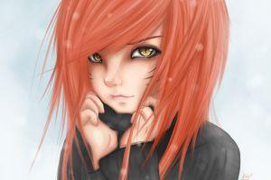 love anime yellow eyes eyes face redhead