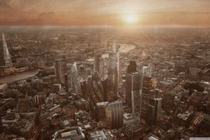 low saturation cityscape city london aerial view