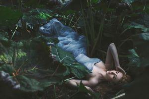 lying down brunette women outdoors model alexandra cameron blue dress strapless dress women
