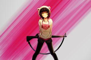 m16 machine gun anime pantyhose original characters shorts anime girls