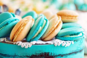 macarons cookies blue turquoise french macaroons dessert food