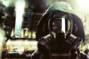 manga futuristic gas masks purple eyes anime hoods
