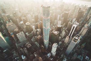 manhattan new york city city cityscape aerial view skyscraper