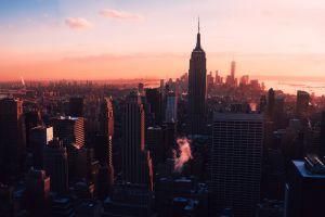 manhattan new york city sunrise building cityscape city