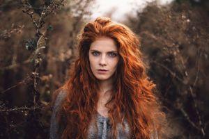 martin kühn wavy hair redhead looking at viewer face women outdoors depth of field long hair women freckles