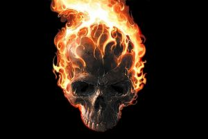 marvel comics digital art comics burning ghost rider fire minimalism black background teeth movie poster skull