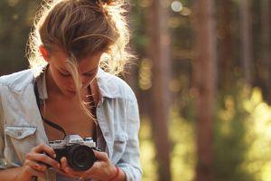 mascara camera brunette women outdoors