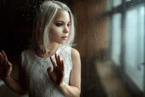 masha sidorova smoky eyes white hair women glass dress white dress georgy chernyadyev