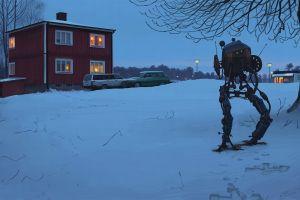 mech artwork science fiction snow simon stålenhag