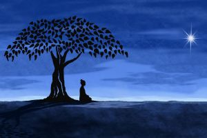 meditation horizon ground men leaves artwork buddhism stars buddha sitting trees digital art silhouette shadow happiness