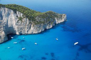 mediterranean boat zakynthos greece forest sea mountains water