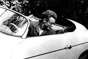 men monochrome car