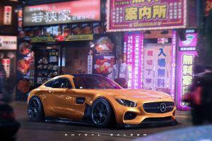 mercedes-amg khyzyl saleem japan car tokyo mercedes benz amg gt render artwork