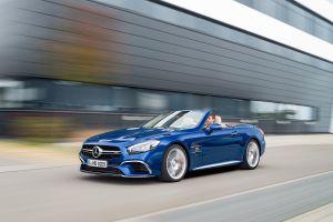 mercedes-benz sl65 amg road convertible car motion blur