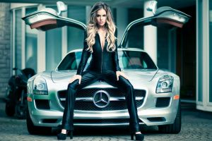 mercedes sls cleavage leather clothing long hair looking at viewer blonde sitting model stiletto women with cars spread legs women outdoors car women open mouth