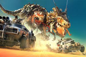 metal car offroad fantasy art skull desert t-rex skeleton robot harpoons sand digital art artwork battle dinosaurs