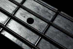 metal monochrome minimalism macro black background guitar closeup strings bass guitars