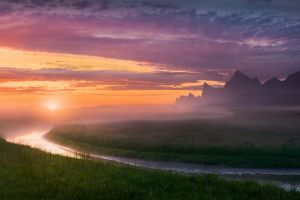 midnight grass europe mist clouds norway mountains summer nature sky sunset river landscape